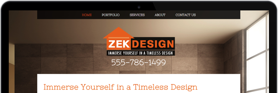 Interior design website with the title 'Zek Design'