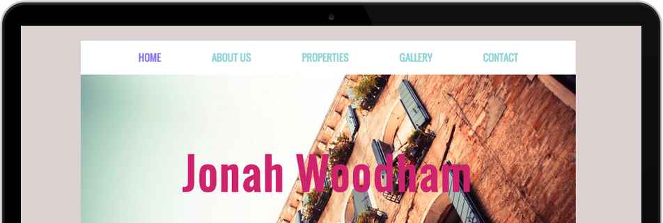 Real estate agent website with the title 'Jonah Woodhan, taking the stress out of buying a home'
