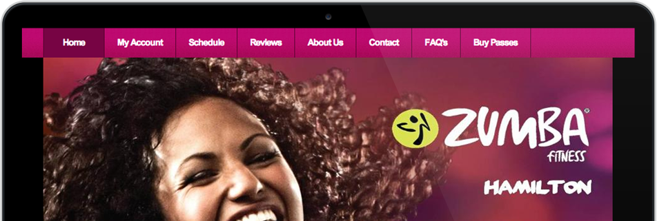 Personal training website with the title 'Zumba fitness'